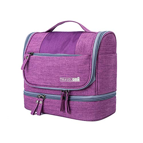 TABITORA Toiletry Bag Portable Hanging Travel Organizer Large Capacity Dry Wet Separation, Purple