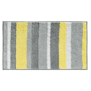Interdesign 18914 Microfiber Stripz Bathroom Shower Accent Rug, 34 X 21, Gray/Yellow