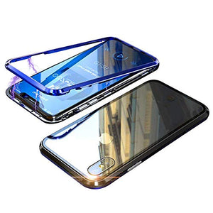 iPhone X XS Case,Magnetic Adsorption Case,Full Body Protection,Support Wireless Charge,Metal Frame,Lightweight Ultra Thin Clear Hard Tempered Glass Back Cover for Apple iPhone X/XS 5.8 Inch,Blue+black