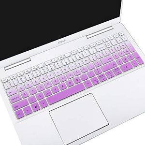 "Silicone Keyboard Cover for 2020 2019 15.6"" Dell Inspiron 15 5000 5584 5590 5593 5598 5508 5501, 15.6"" Dell Inspiron 15 7000 7590 7591 Laptop, Dell Vostro 15 7590 5590 7500 Keyboard Skin, Ombre Purple"
