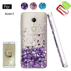 Alcatel 3 Case, Revvl 2 Case [T-Mobile] with HD Screen Protector, Atump Glitter Liquid Diamond Cute TPU Silicone Protective Phone Cover Case for Alcatel 3 Purple
