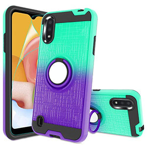 Atump Galaxy A01 Case,A01 Phone Case with HD Screen Protector, 360 Degree Rotating Ring Holder Kickstand Bracket Cover Phone Case for Samsung Galaxy A01 Mint/Purple