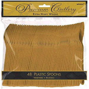 Amscan 8011.19 Premium Heavy Weight Disposable-Spoons, 9 X 9.2, Gold