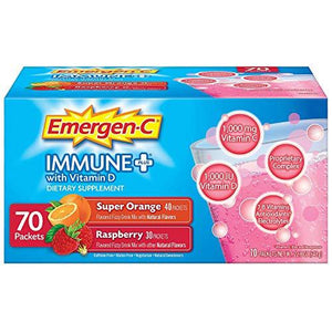 Emergen-C Immune+ System Support Dietary Supplement Drink Mix With Vitamin D, 1000mg Vitamin C - 70 packets