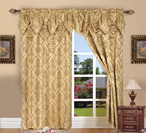 Elegant Comfort Penelopie Jacquard Look Curtain Panels, 54 by 84-Inch, Gold, Set of 2