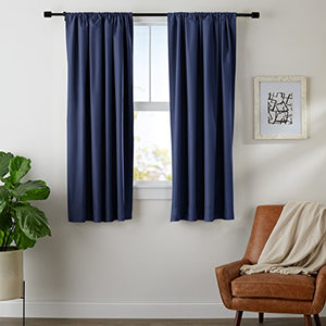 AmazonBasics Room Blackout Window Panel Curtains - Pack of 2, 52 x 63 Inch, Navy Blue