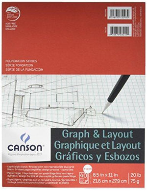 Canson Foundation Series Graph And Layout Paper Pad With Non Reproducible Blue Grid, 20 Pound, 8 By 8 Grid On 8.5 X 11 Inc