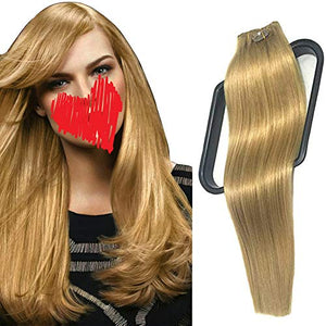 "120G Clip In Extensions 15Inch Clip In Human Hair Extensions Silky Straight Clip In/On Hair Thick End Full Head Top Fashion Summer Hairstyle For Women 7Pcs #27 Dark Blonde(16""18""20""22"")"