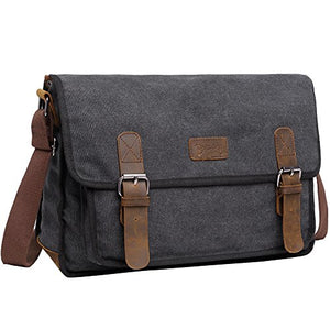 Mens Canvas Shoulder Bag, Berchirly 14 inch Laptop Bag Vintage Bookbag For School Crossbody Messenger Bag Satchel