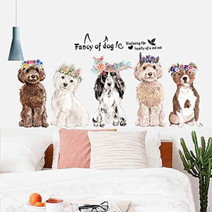 Fancy of Dog Wall Stickers Wall Decor for Bedroom Living Room Removable Vinyl Art Mural Decals for Girls Boys Kids