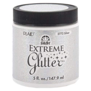 Folkart Extreme Glitter Acrylic Paint In Assorted Colors (5-Oz) 2772 Silver