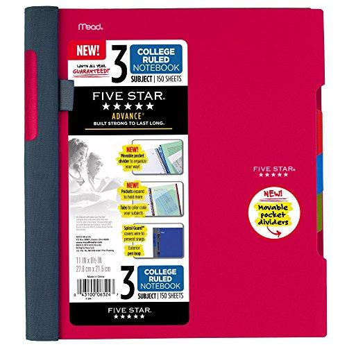"Five Star Advance Spiral Notebook 3 Subject College Ruled Paper 150 Sheets 11"" X 8-1/2"" Red (73134)"