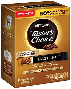 Nescafe Taster'S Choice 16 Piece Hazelnut Instant Coffee Beverage Single Serve Sticks, 1.69 Oz