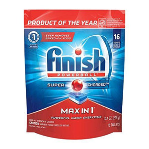 Finish Max In 1 Powerball, 16Ct, Wrapper Free Dishwasher Detergent Tablets