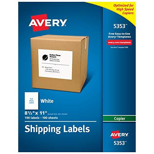 "Avery Full-Sheet Labels For Copiers, 8-1/2"" X 11"", Box Of 100 (5353)"