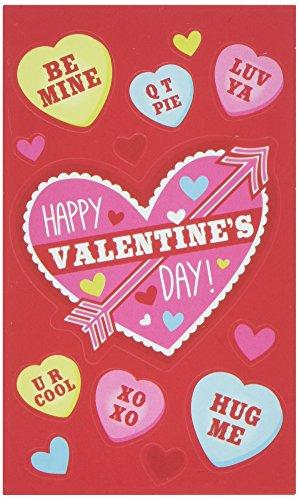 Amscan 392705 Heart Valentine Cards With Stickers, One Size, Red