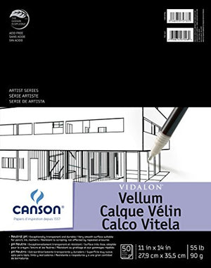 Canson Artist Series Vidalon Vellum Paper Pad, Translucent And Acid Free For Pencil