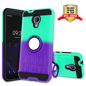 Atump Alcatel 1X Evolve Case, Alcatel TCL LX (A502DL), Alcatel IdealXTRA Case, Ring Holder & Kickstand Cover Phone Case for Alcatel 1X Evolve Mint/Purple