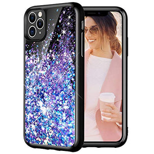 Caka Case for iPhone 11 Pro Max Glitter Case Starry Night Liquid Bling Sparkle Cute Luxury Fashion Flowing Glitter Soft TPU Black Women Girls Phone Case for iPhone 11 Pro Max (6.5 inch)(Blue Purple)