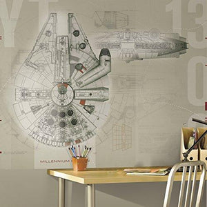Roommates Jl1401M Ultra-Strippable 6' X 7.5' Star Wars Millennium Falcon Prepasted Mural