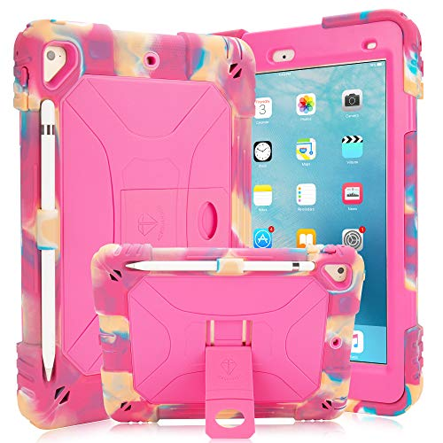 iPad 9.7 Case iPad Air 2 Case iPad 6th/5th Generation Case with Durable Kickstand Hybrid Three Layer Heavy Duty Kids Case with Shockproof for iPad 2 Air & iPad 6/5 gen(2018/2017) (Pink Camo/Rose)