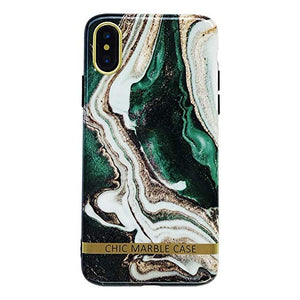 Chic Green Marble Phone Case for iPhone Xs Max Soft Protective Glossy Stylish Back Cover Casing (Green Marble, iPhone Xs Max 6.5'')