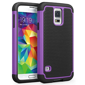 SYONER Galaxy S5 Case, [Shockproof] Hybrid Rubber Dual Layer Armor Defender Protective Case Cover for Samsung Galaxy S5 S V I9600 [Purple/Black]