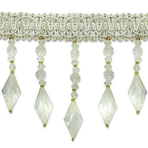Expo International Rosalie Diamond Bead Fringe Trim, 10 yd, Ivory