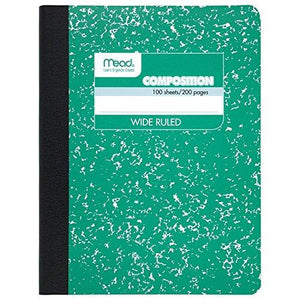 "Mead Composition Notebook, Wide Ruled, 100 Sheets (200 Pages), 9-3/4"" X 7-1/2"", Green"