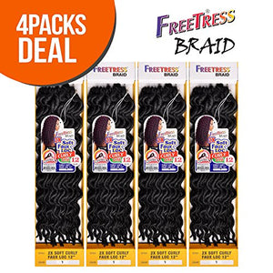 "FreeTress Synthetic Hair Crochet Braids 2X Soft Faux Loc Curly 12"" (4-Pack, 1B)"