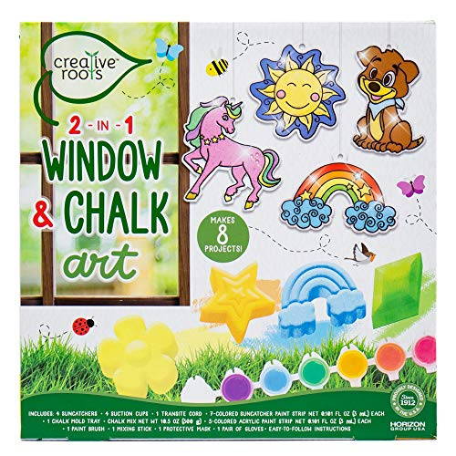 CREATIVE ROOTS 2-in-1 Window Art & DIY Chalk Art by Horizon Group USA, Multicolor, One Size