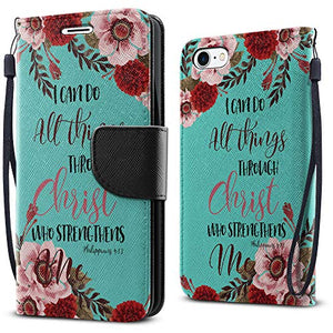 FINCIBO Case Compatible with Apple iPhone 7 8 4.7 inch/iPhone SE 2020, Fashionable Wallet Cover Case Card Holder Stand for iPhone 7/8 / SE (NOT FIT 7 Plus) - Christian Bible Verses Philippians 4:13