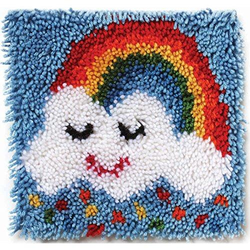 "Wonderart Rainbow Sprinkles Latch Hook Kit, 12"" X 12"""
