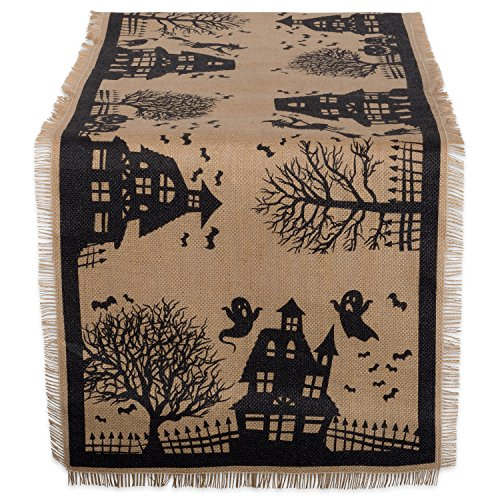 "Dii 14X74"" Jute/Burlap Table Runner Haunted House - Perfect For Halloween Dinner Parties"
