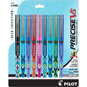 Pilot Precise V5 Deco Collection Rolling Ball Pens Capped Extra Fine Point (.5Mm) 9-Pack Assorted