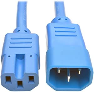 Tripp Lite 3ft Heavy Duty Computer Power Extension Cord 15A, 14 AWG, C14 to C15, Blue 3'(P018-003-ABL)