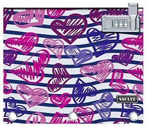 Vaultz Locking Binder Pouch 9.7 X 8 X 1 Inches Stripes/Heart (Vz03710)