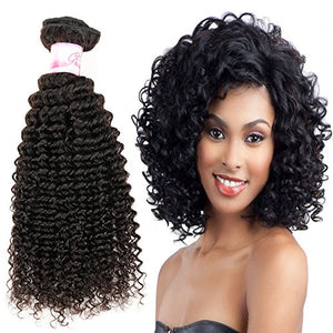 Brazilian Human Hair Deep Wave Bundles with Closure 100% Unprocessed Virgin Human Hair Deep Curly 3 Bundles with Free Part Lace Closure Natural Color(14 16 18+12 Closure)