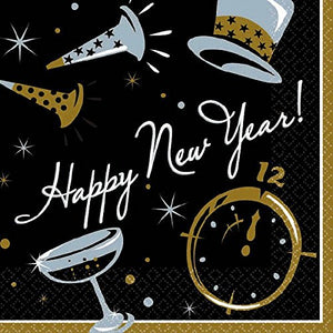 """Happy New Year"" Black Tie Affair Luncheon Napkins, 6.5"" x 6.5"", 100 Ct."