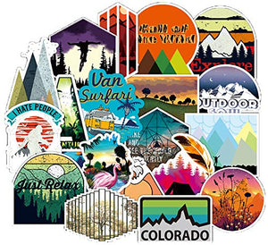 Outdoors Hiking Camping Travel Adventure Stickers Wilderness Nature Stickers Pack 100 Pcs Suitcase Stickers Vinyl Decals for Car Bumper Helmet Luggage Laptop Water Bottle