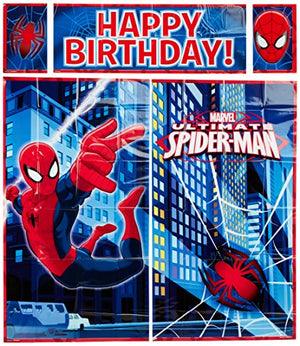 "Amscan 670295 Spider-Man䋢 Scene Setters Wall Decorating Kit, 59"" X 65"", Blue/Red"