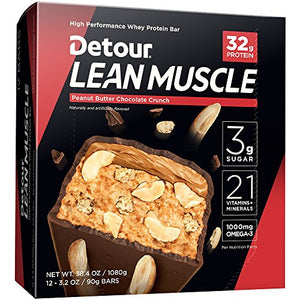 Detour Lean Muscle Whey Protein Bar, Peanut Butter Chocolate Crunch, 3.2 Ounce (Pack of 12)
