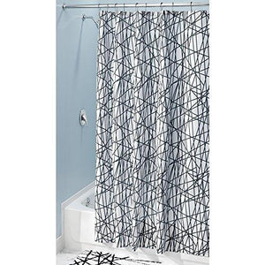 "Interdesign Abstract Fabric Shower Curtain, 72"" X 84"", Black/White"
