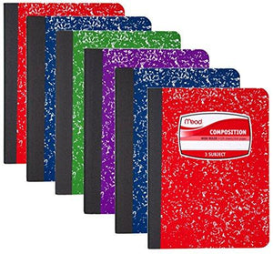 Mead Composition Book, 3 Subject, 120 Sheets, Wide Ruled, Assorted Colors, 6 Pack