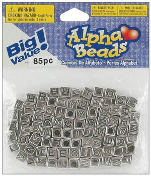 Darice 85-Piece Big Value Alpha Beads, 6Mm, Silver With Black Letters
