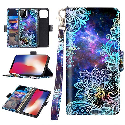 Casetego Compatible iPhone 11 Pro Case,Detachable Magnetic Wallet Case PU Leather Full Body Protective Case with Credit Card Holders, Wrist Strap for Apple iPhone 11 Pro 5.8 inch,Blue Mandala