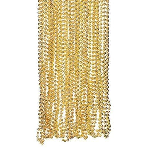 Fun Express Light Gold Plastic Metallic Bead Necklaces (4 Dozen)