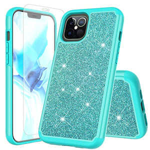 "Jackpot Wireless For Apple Iphone 12 Pro Max Case Glitter [Only Fit 6.7""] Case With Screen Protector -Teal"