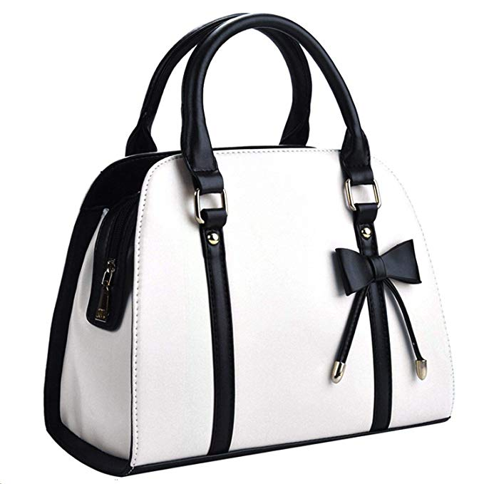 Coofit Lady Handbag Little Bow Leisure Shoulder Bag Purse White/Black