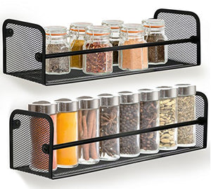 Greenco Wall Mount Single Tier Mesh Spice Rack, Black, Set 2